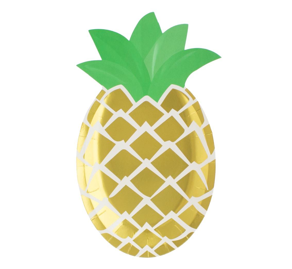 Talerz papierowy Ananas - zielone listki 25x16cm 6 szt.