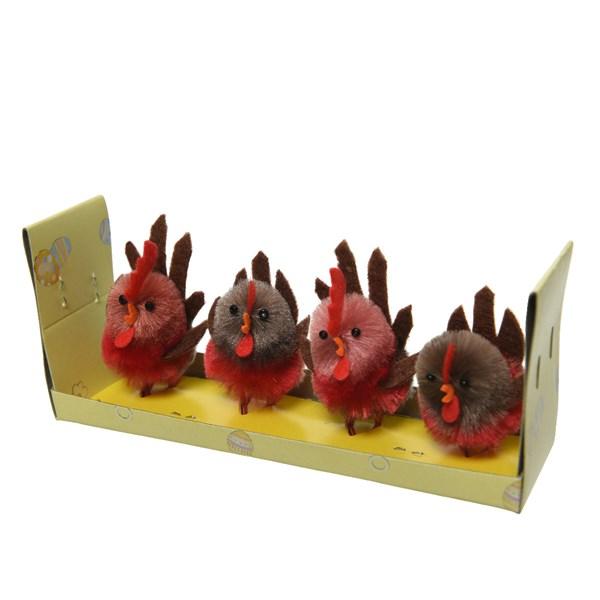 Kurczak różowo-szary 3x3,5x5,5cm 4szt